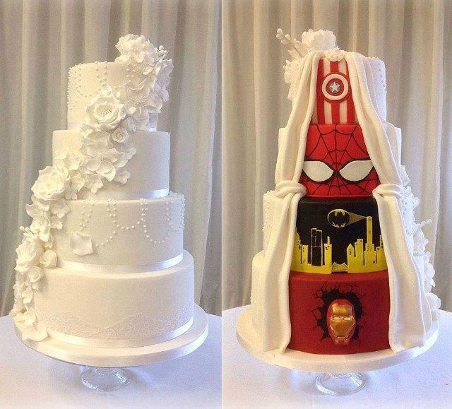 Compromise: She Wanted A Traditional Wedding Cake, He Wanted Superheroes >>> or in my case, I want superhero, he wants traditional