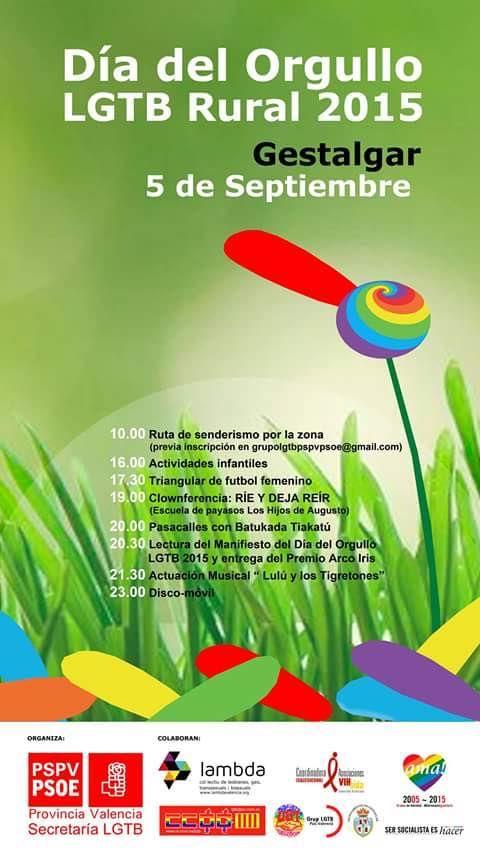 Agenda para Septiembre: De ruteo en Gestalgar #diadelorgullo LGTB Rural 2015 Valencia