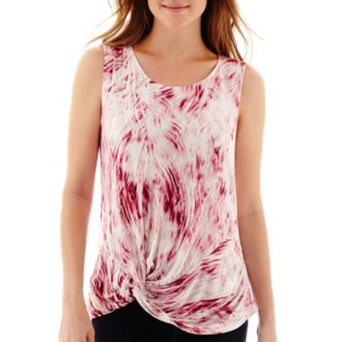 a.n.a® Sleeveless Twist-Front T-Shirt  found at @JCPenney