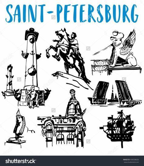 Saint-Petersburg's Attractions Vector Illustration Set