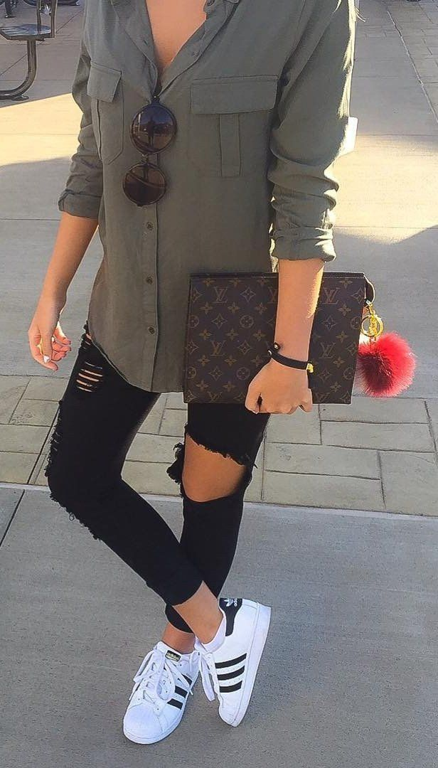 #spring #outfits Army Shirt + Destroyed Black Jeans + White Adidas Sneaker ❤️