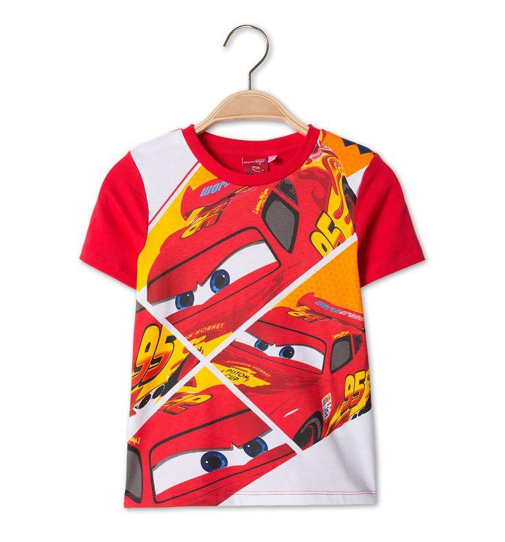Cars-shirt van katoen met korte mouw in rood