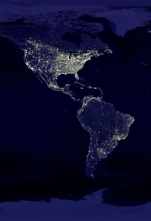North and South America seen from Space - Navy Blue