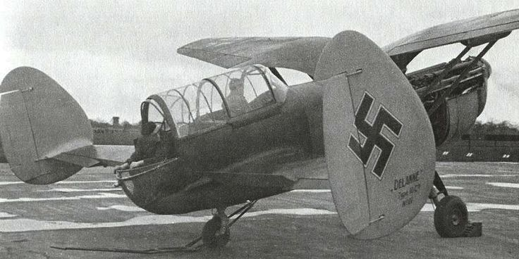 "French - Arsenal-Delanne ""10-C2"" - a 2-Seat Fighter with a Biplane or Tandem Wing Configuration Causing a Continuous Slot Effect and Offered Exceptional Center of Gravity Range. Pilot and Gunner Sat in Tandem Under a Single Canopy at the Rear of the Fuselage. Armament: 1 × 20mm Cannon, Fixed, Firing Through the Propellor Hub, 2 × Wing Mounted 7.5mm MAC 194 Machine Guns and 2 × 7.5mm Flexable Machine Guns in Rear Cockpit - was Captured by the Germans and Ferried to Germany for Further Trials"