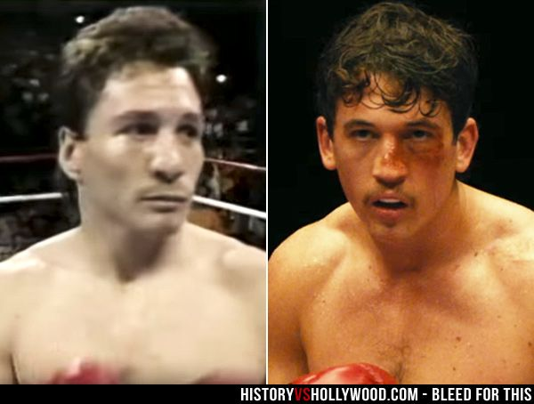 Boxer Vinny Pazienza (left) and actor Miles Teller in the Bleed for This movie. See pics of the real people behind the movie: http://www.historyvshollywood.com/reelfaces/bleed-for-this/