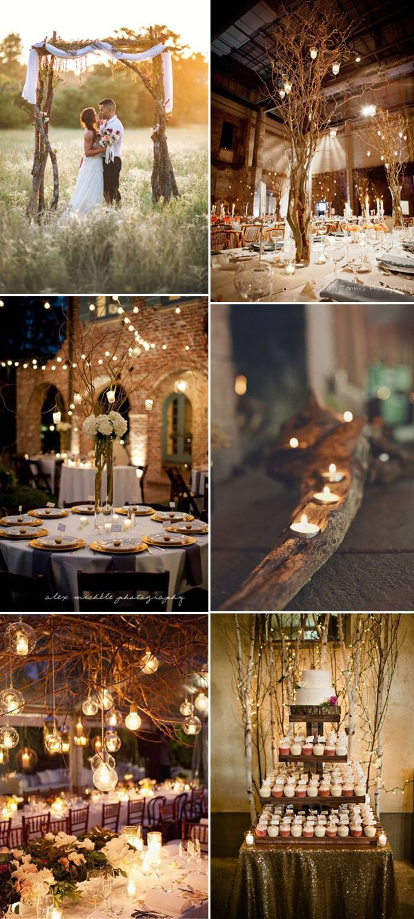 rustic twigs and branches romantic rustic wedding decor ideas