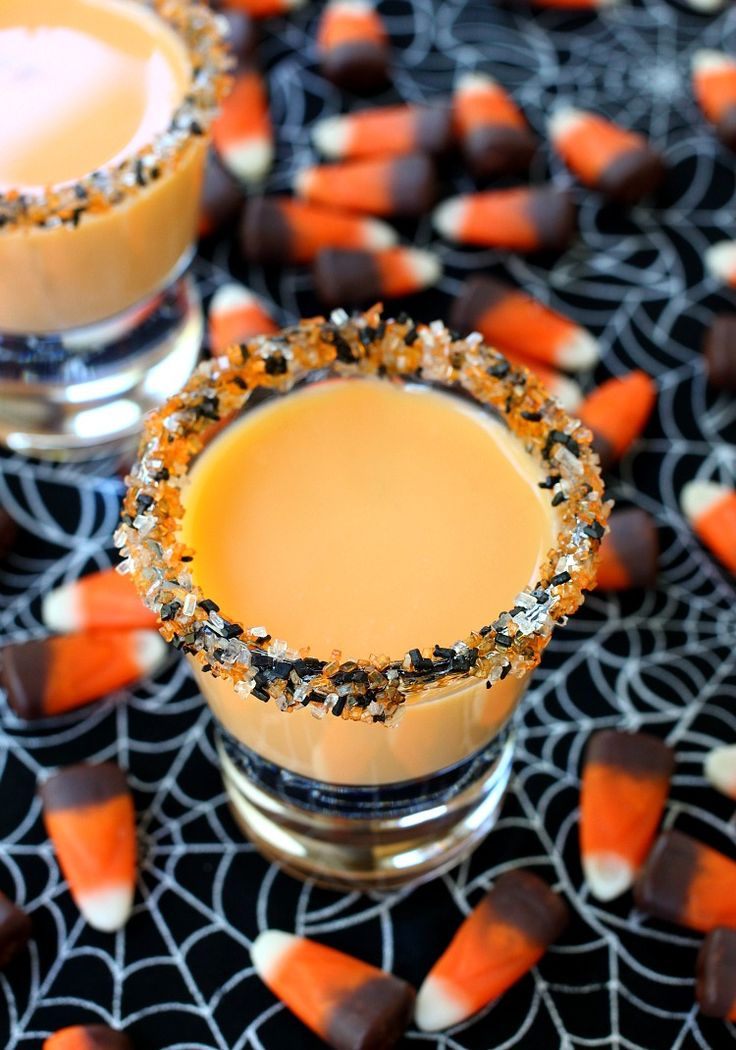 These Pumpkin Pie Shots are definitely on the adult dessert table for Halloween!
