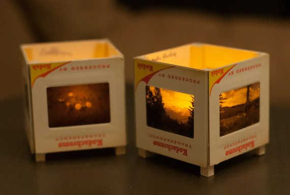 35mm Slide Tea Light Holders - line with glass/plastic?  So you can use real candles?