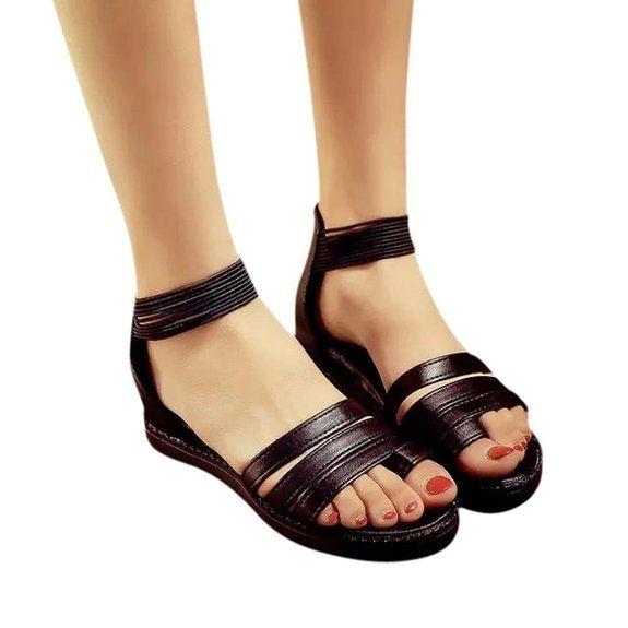 Transer® Sandali Donna Bassi Low Tacco Basso Signorina Sandali Estivi Ragazza Spiaggia Stile Romano di Moda (36, Nero)