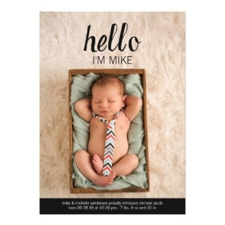 Unique photo birth announcement cards that have a subtle vintage design, and includes space for a large vertical photo of your new arrival. The design is vintage-influenced, yet feels very modern and stylish and suitable for a baby boy or girl.
