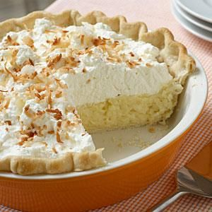 When it comes to pie recipes, this classic coconut pie recipe takes the blue ribbon. The use of a refrigerated pie crust makes it easy and the whipped cream makes it stunning.