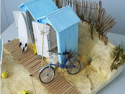 Beach huts at the foot of the dunes in the Vendée (dollhouse sized!)