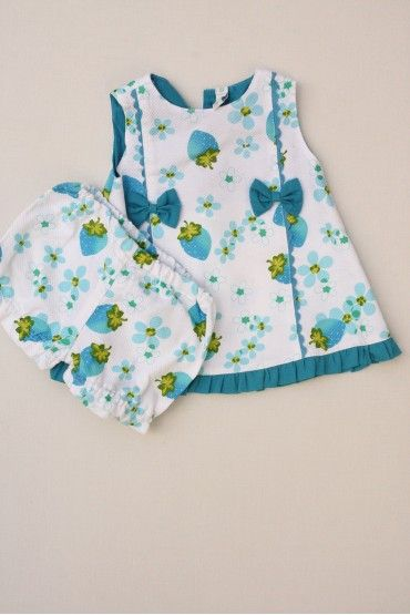 Conjunto piqué. Vestido y cubrepañales estampado de niña de la marca Yamboo de la talla 6 meses  #vestidos #niña #econene