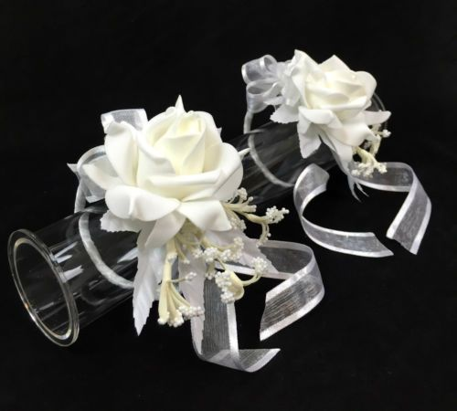2-X-Cream-white-foam-rose-wrist-corsages-wedding-silk-flower-cintahomedeco