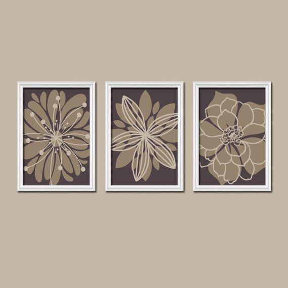 Спальня Wall Art Холст Картины Коричневый Бежевый цветок взрыв Схема Далия Цветочные Блум Набор 3 Печать Декор ванной Три