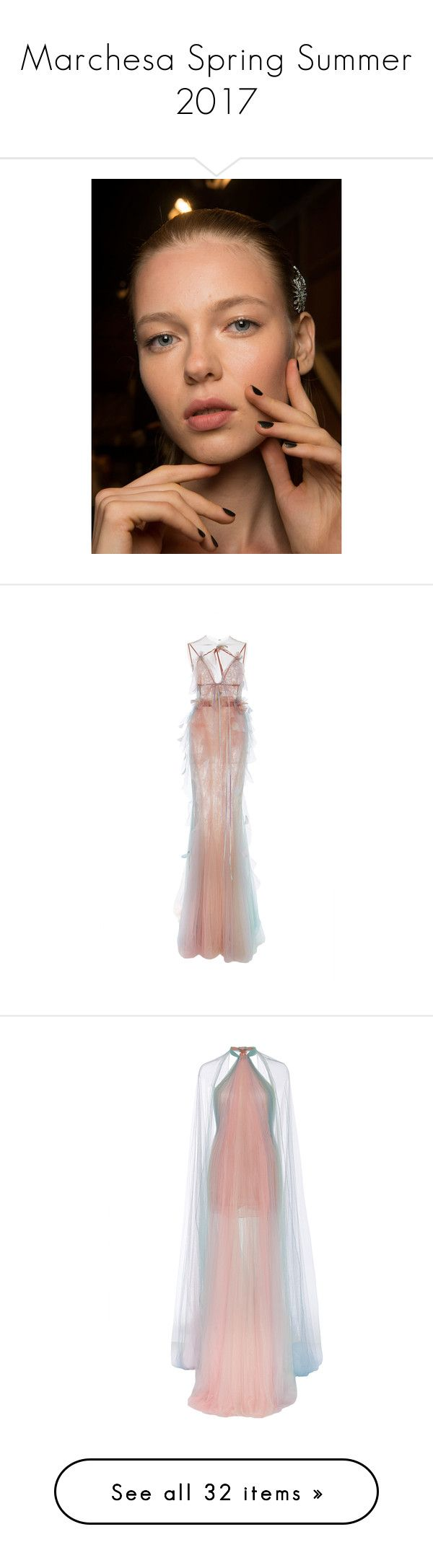 """""""Marchesa Spring Summer 2017"""" by enam ❤ liked on Polyvore featuring dresses, gowns, nude, white satin dress, white satin gown, halter dress, marchesa gowns, white ball gowns, marchesa and pink"""