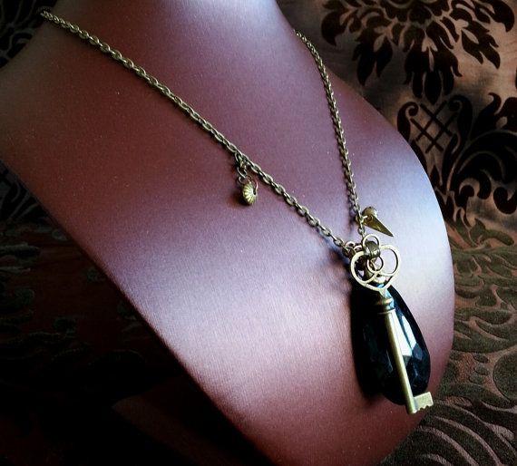 Black Teardrop with Key necklace 'Keeper of by TheNavigatrix