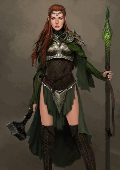 f Elf Cleric med Armor Staff War Hammer midlvl