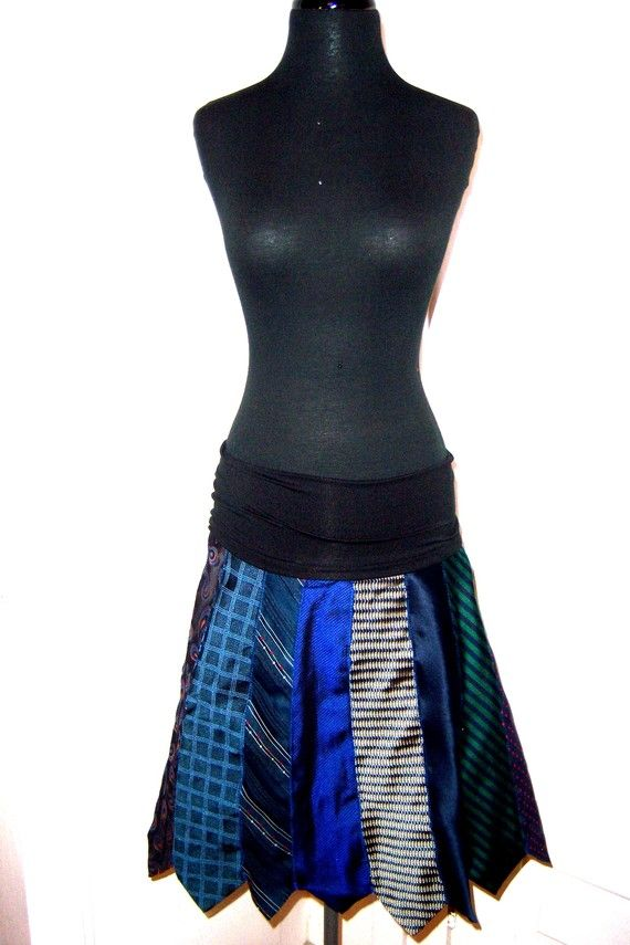 Custom made neck tie skirt with comfy style elastic waist band. could be worn as a maternity skirt too on Etsy, $50.00