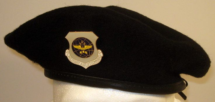 USAF US Air Force Security Police Military Airlift Command Crest Badge Beret