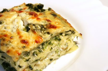 Vegetable Lasagna with White Sauce -- this one has broccoli rather than spinach (which is what I usually see in veg. lasagna recipes)