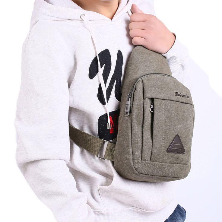 Cheap New Men Vintage Canvas Bags Zipper Closure Adjustable Strap Online green | Tomtop