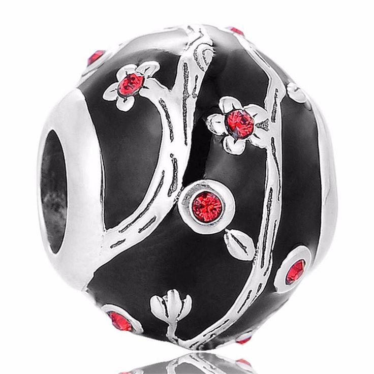 Rami con fiori rossi smalto nero CZ rossi Argento sterling 925 adatta misure Pandora bead, Braccialetto europeo, Braccialetto Pandora D192 di OceanBijoux su Etsy