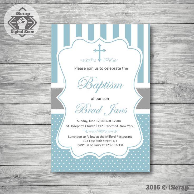 Bautizo invitación niño, primera comunión bautizo invitación de bautismo para imprimir de invitación niño invitación confirmación COD02 de iscrapdesign en Etsy