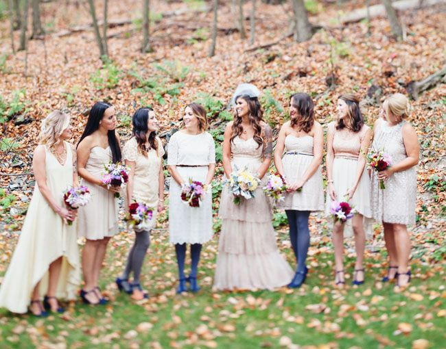 bridesmaids in tights + neutrals