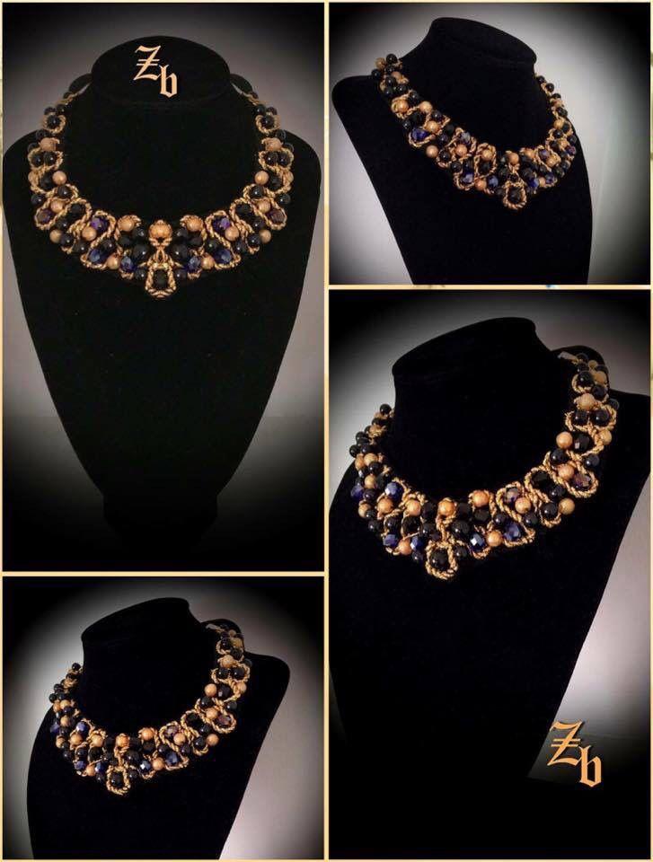 Gold&black&crystals...z'ett bijou handmade necklace