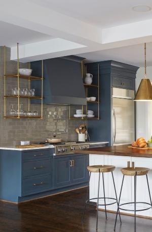 Marianne Strong Interiors, brass shelving, brass kitchen shelves, brass pendants, rustic kitchen, blue cabinets, deep teal cabinets, Jean Allsopp photography, Birmingham Home and Garden by lunahoffman