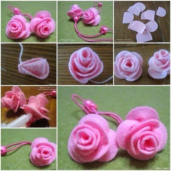 Passo A Passo Rosa De Feltro Com Imagens Diy Flores De Tecido