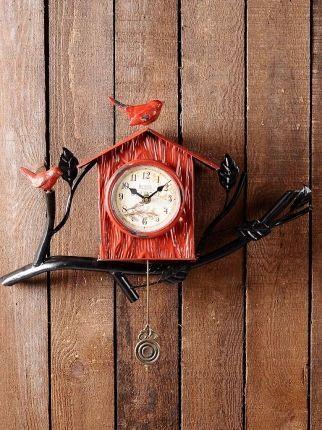 Kuş Yuvası Sallangaçlı Duvar Saati