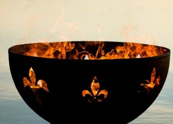 The Fleur de Lis Lily Flower fire pit by Fire Pit Art  is a high quality, hand cut and crafted fire pit designed for years of heavy use.