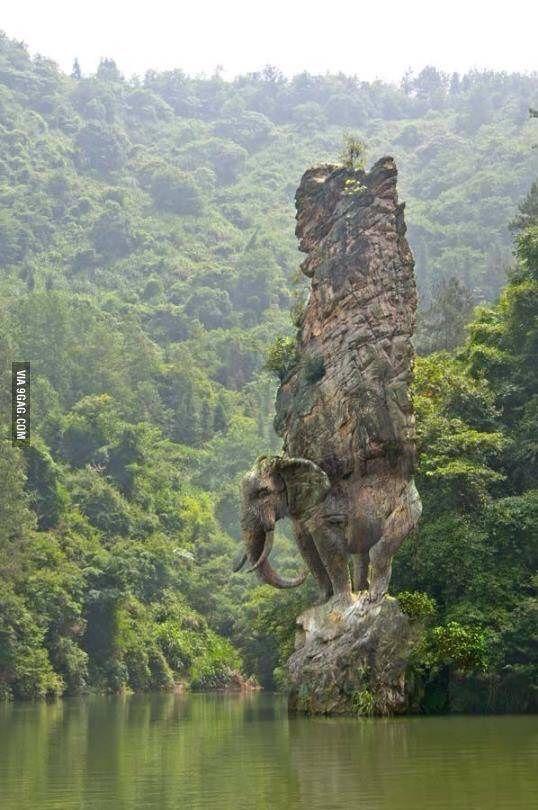 Elephant rock in India - 9GAG