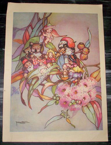 Vintage 1945 PEG Maltby Colour Plate Print Kookaburra GUM NUT Babies Flowers   eBay