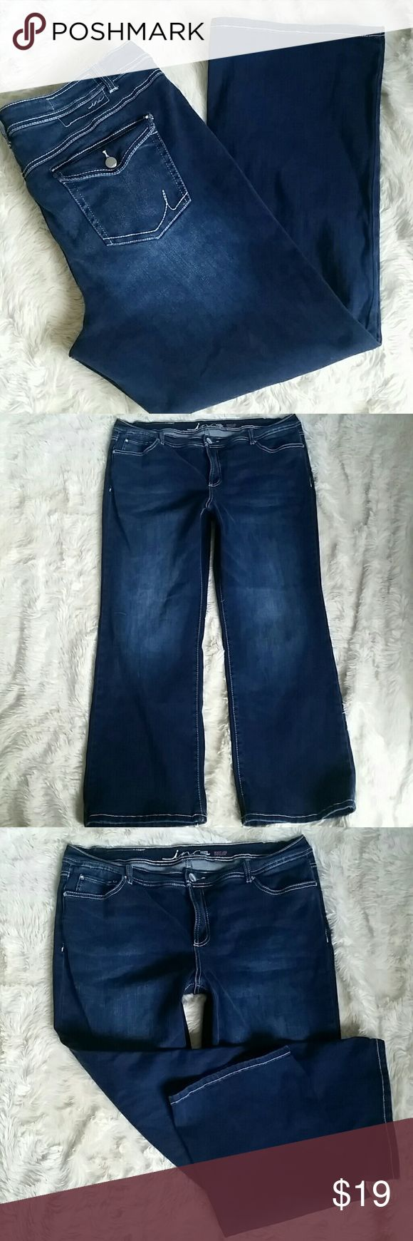 """INC Denim Bootcut Stretch Jeans Plus Size 20W Super soft and stretchy inky dark blue bootcut jeans. Slim tech fit is stretchy and flattering. Stretch denim made out of a comfy tri blend of cotton, polyester and spandex. Diamond bling rivets. Button and zip fly. Flap button back pockets. Pre-owned in good condition with no rips, holes, tears or stains. Plus Size 20W.   Waist 20.5"""" Rise 11"""" Inseam 31"""" Leg Opening 11"""" INC International Concepts Jeans Boot Cut"""