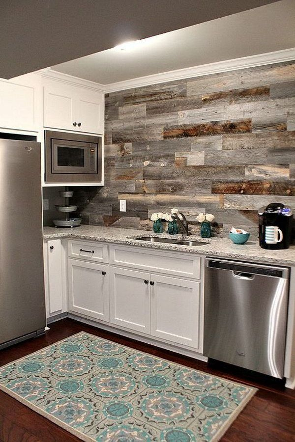Basement Kitchen with a DIY Weathered Wood Backsplash