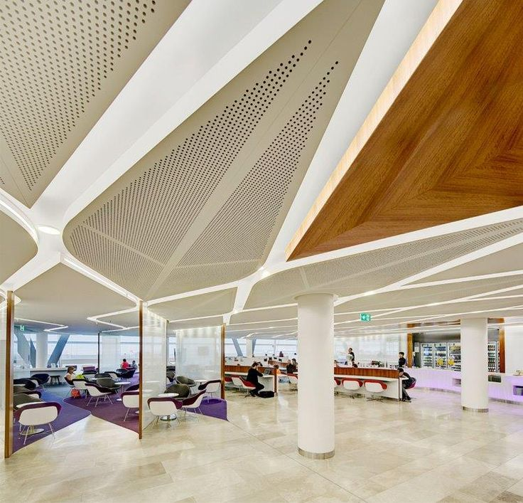 Virgin lounges by TZG architects Key lena solid and perforated to custom shapes by  Keystone