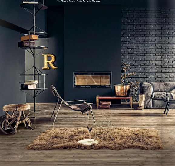 LIKE THE ANTLER STOOL AND THE RUG #industrial chic living room: