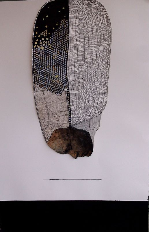 """©Holly Gordon """"Supervenience (Ned Kelly's Death Mask)"""" 2014, Pen, tea, ink, collage, watercolour pencil, 119x82cm (private collection)"""