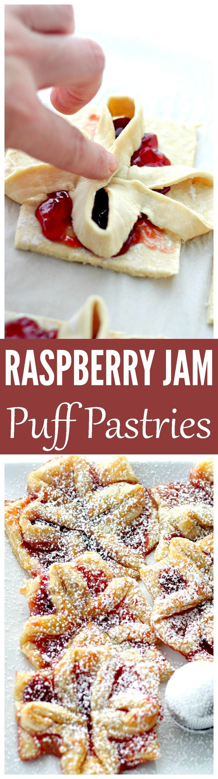 These Raspberry Jam Puff Pastries are easy to assemble and so satisfying. The layers of flaky buttery puff pastry topped with sweet jam make for an impressive and indulgent treat!: