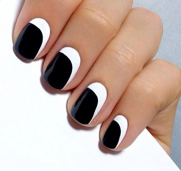Black and White nail art manicure - simple --HannahRox Nails