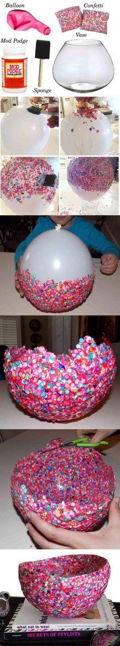 Genial DIY para hacer recipientes usando un globo, cola y confeti de colores! #manualidadesfaciles #globos #fiestas #confeti