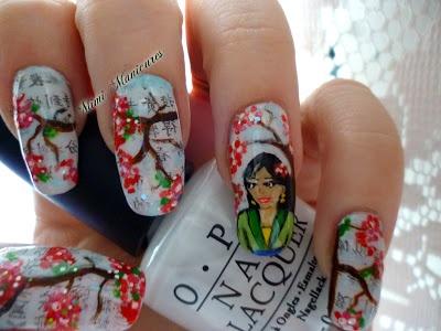 my Disney mulan Chinese newpaper nail art http://mimimanicures.blogspot.co.uk/2013/05/disney-challengemulanhmmm.html
