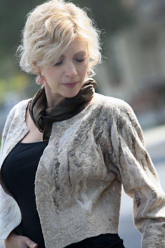 Nuno felted one of a kind designer's off-white light short jacket size S-M wearable art eco-friendly white beige gradient elegant boho