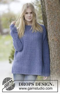 "Knitted DROPS jumper with texture, high collar, vent in the sides and rib in 2 strands ""Brushed Alpaca Silk"". Size: S - XXXL. ~ DROPS Design"