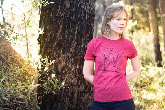 Eco Tshirt Red Elephants 100 recycled organic by Cliffwatcher
