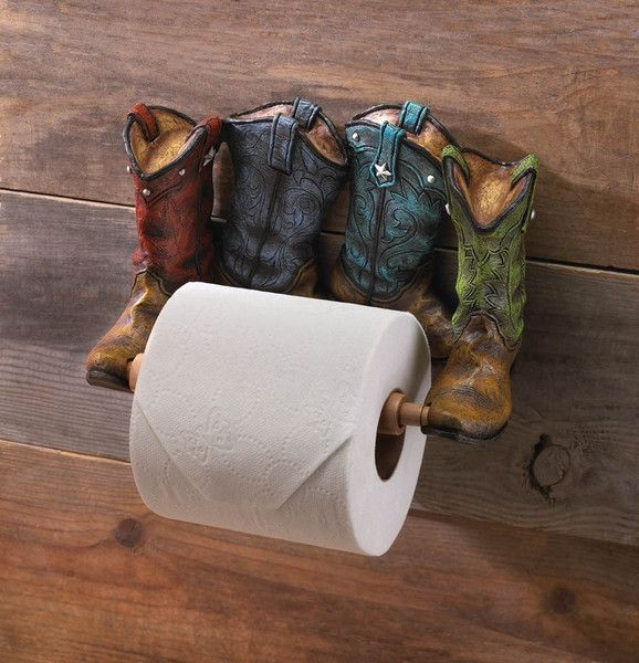 Cowboy Boots Toilet Paper Holder - Give your bathroom some Western flair with this adorable Cowboy Boots Toilet Paper Holder. Four boots with colorful uppers and fine details are fitted with a wooden dowel that's ready to be loaded up with toilet paper (not included).