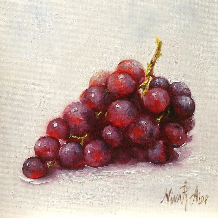 Oil Painting Grapes Cabernet by Nina R.Aide Still #OilPaintingFood #OilPaintingRed